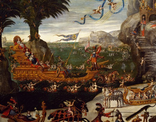 Stock Photo: 1788-48244 The triumphant naval ship of the French Royal family, detail from L'Acqua, ca 1640, by Claude Deruet (1588-1660).