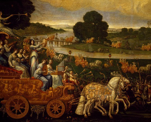 Chariot of Musicians, detail from Earth, ca 1640, by Claude Deruet (1588-1660). : Stock Photo