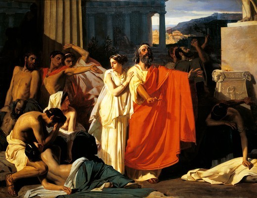Oedipus and Antigone during the plague in Thebes, by Eugene-Ernest Hillemacher (1818-1887). : Stock Photo