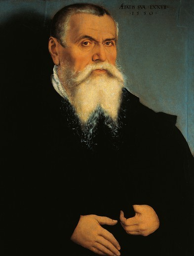 Portrait of Lucas Cranach the Elder (1472-1553), 1550, by Lucas Cranach the Younger (1515-1586). : Stock Photo
