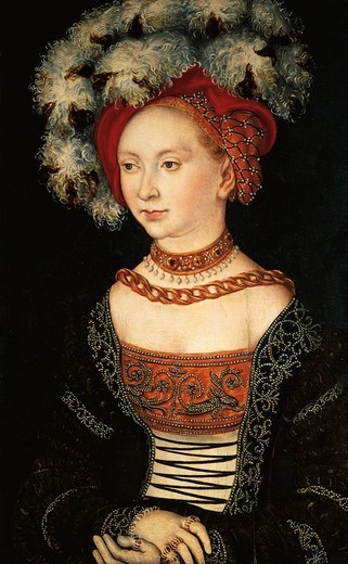 Stock Photo: 1788-48260 Portrait of a lady, 1530, by Lucas Cranach the Elder (1472-1553), oil on panel, 42x29 cm.