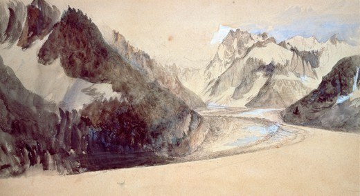 Stock Photo: 1788-48262 Mer de Glace, Chamonix, 1849, by John Ruskin (1819-1900), pencil and ink.
