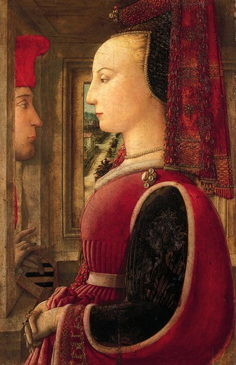 Portrait of a lady with a man at the window sill, 1435-1445, by Filippo Lippi (ca 1406-1469), tempera on panel, 64.1 cm x41, 9 : Stock Photo