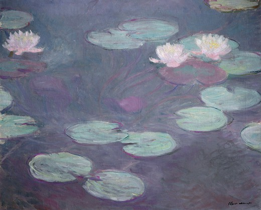 Pink lilies, 1897-1899, by Claude Monet (1840-1926), oil on canvas, 81x100 cm. : Stock Photo