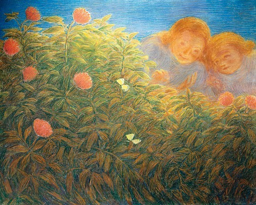 Flowers and butterflies, by Gaetano Previati (1852-1920), oil on canvas. : Stock Photo