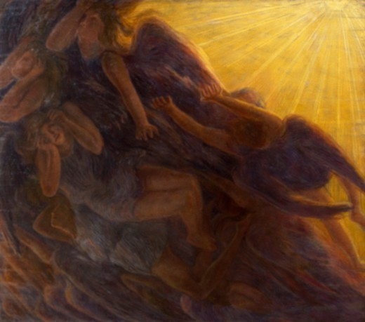 Stock Photo: 1788-48271 The fall of the angels, triptych, 1913, by Gaetano Previati (1852-1920), oil on canvas, 230x260 cm middle panel, 230x135 cm side panels.