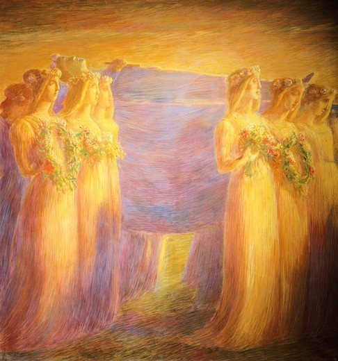 Stock Photo: 1788-48273 Funeral of a virgin, by Gaetano Previati (1852-1920). Detail of the central part.