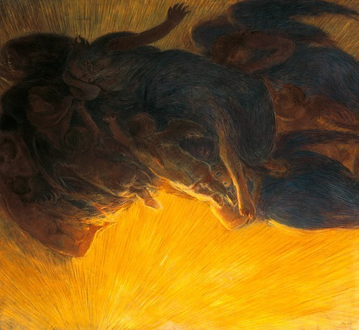 Stock Photo: 1788-48277 The creation of light, 1913, by Gaetano Previati (1852-1920), oil on canvas, 199x215 cm.