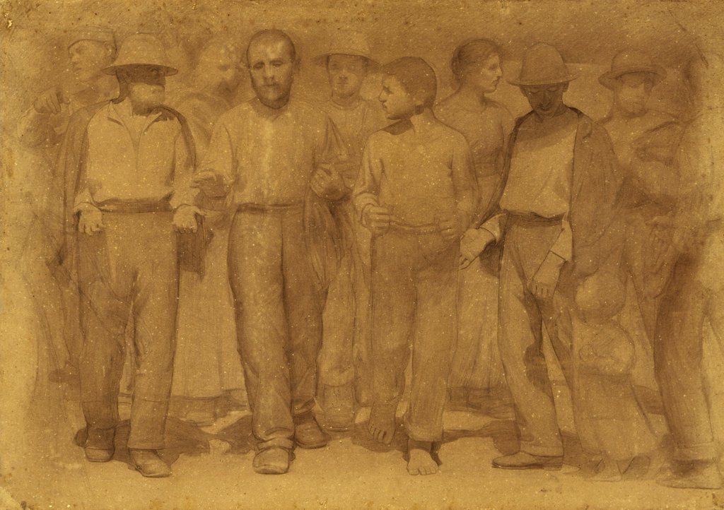 Group of workers, study for the fourth state, ca 1898, by Giuseppe Pellizza da Volpedo (1868-1907), pencil and charcoal on paper, 141x200 cm. : Stock Photo