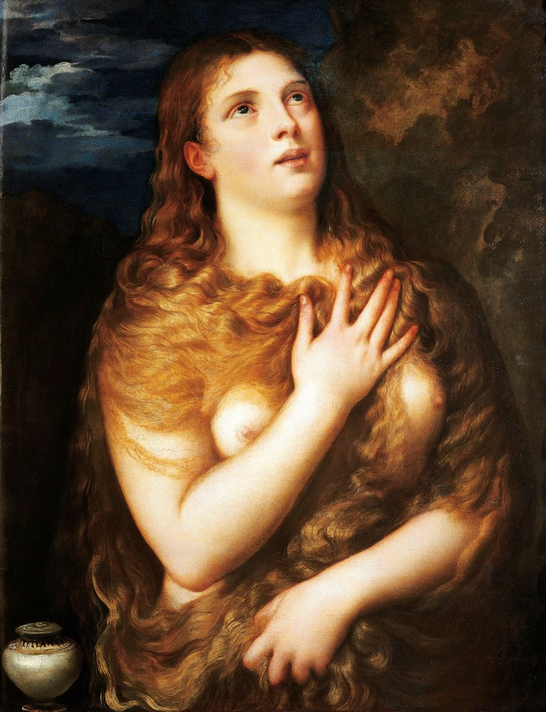 Penitent Magdalene, or St Mary Magdalene, 1530, by Titian (ca 1490-1576). : Stock Photo