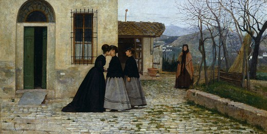 Stock Photo: 1788-48419 The visit, by Silvestro Lega (1826-1895).