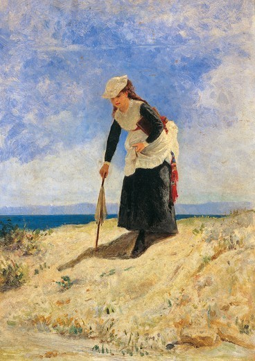Stock Photo: 1788-48426 Women in the sand, ca 1875, by Giuseppe de Nittis (1846-1884), oil on canvas, 35x26 cm.