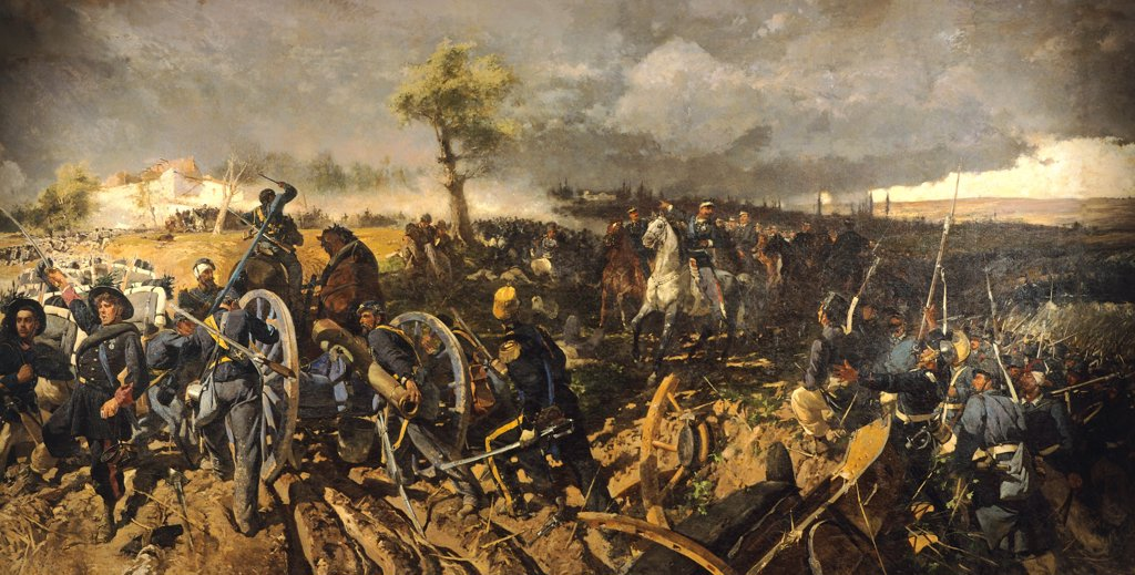 Stock Photo: 1788-48435 The Second War of Independence: The Battle of San Martino, 24 June 1859, by Michele Cammarano (1835-1920).