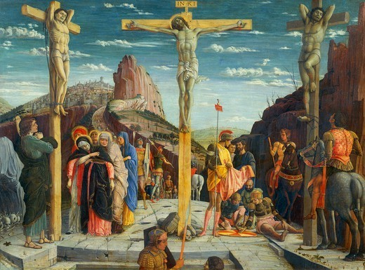 Crucifixion, 1457-1459, by Andrea Mantegna (1431-1506), tempera on wood, 67x93 cm. : Stock Photo