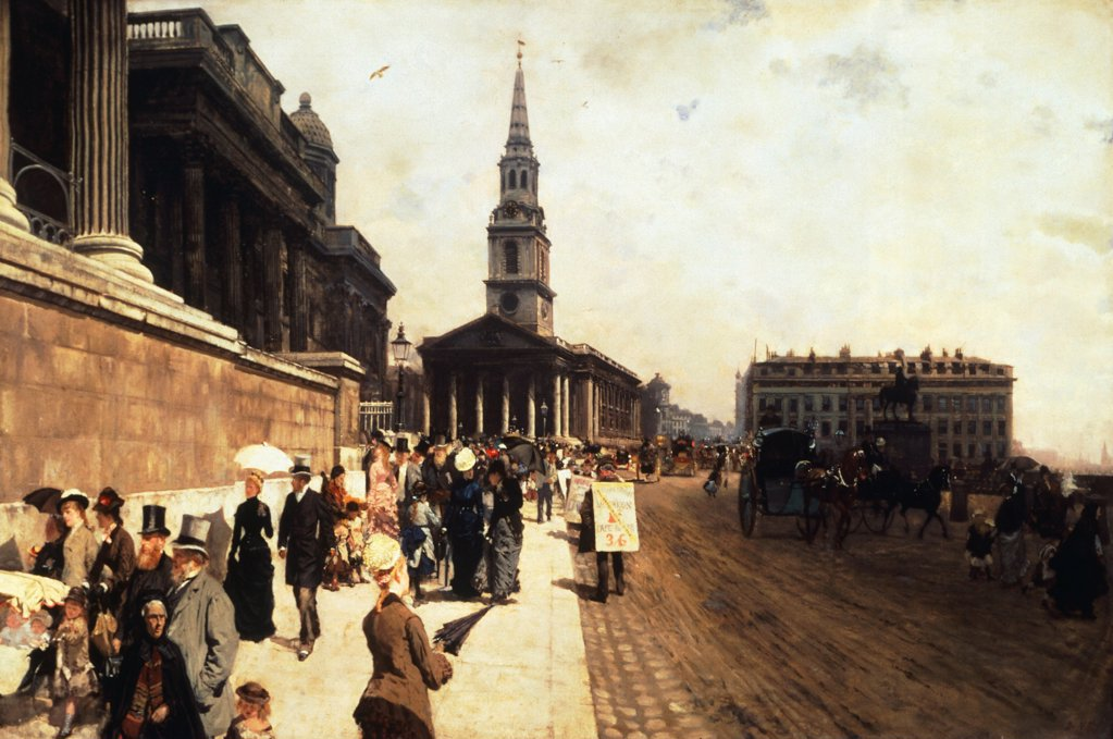 Stock Photo: 1788-48475 The National Gallery and the Church of Saint Martin in London, 1877, by Giuseppe de Nittis (1846-1884), oil on canvas, 70x105 cm.