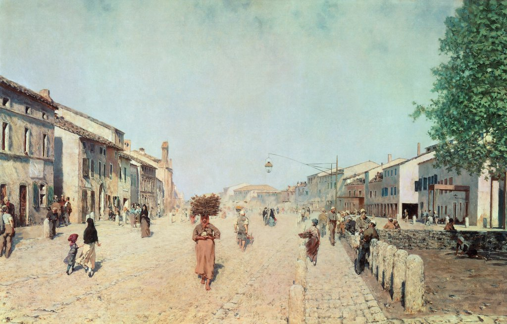 Stock Photo: 1788-48476 A road in Ravenna (suburb of Porta Adriana), 1875, by Telemaco Signorini (1835-1901).