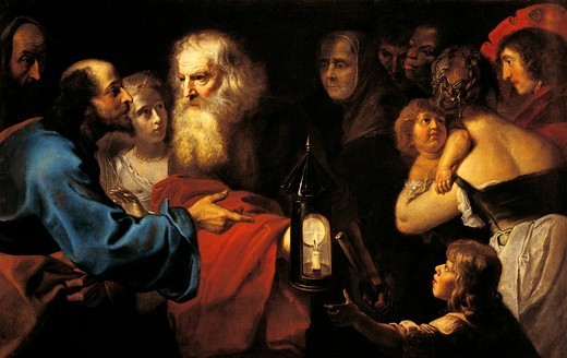 Stock Photo: 1788-48487 Diogenes in search of man, by Pieter van Mol (1599-1650).