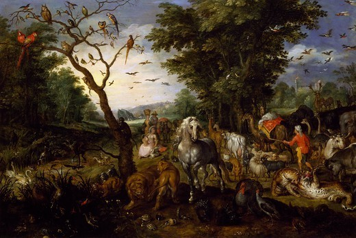 Noah's Ark, by Jan Brueghel the Elder, Velvet Bruegel (1568-1625). : Stock Photo