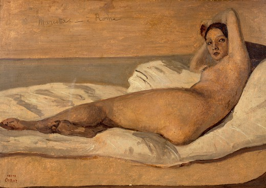 Stock Photo: 1788-48524 The Roman Odalisque (Marietta), by Jean-Baptiste Camille Corot (1796-1875).