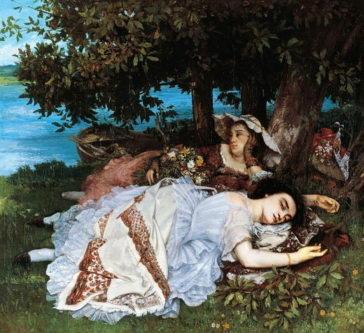 Girls on the banks of the Seine (Les Damoiselles des bords de la Seine, ete), 1856-1857, by Gustave Courbet (1819-1877). : Stock Photo
