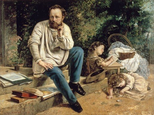 Stock Photo: 1788-48526 Pierre-Joseph Proudhon and his family, 1865-1867, by Gustave Courbet (1819-1877).
