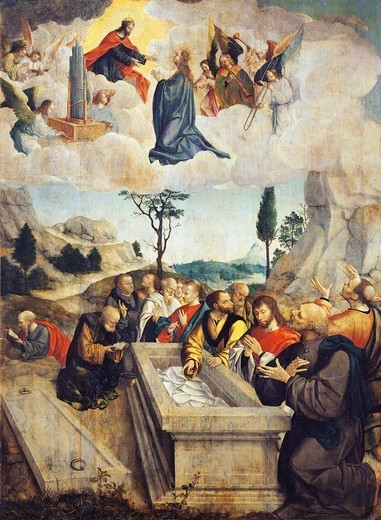Assumption of the Virgin, by Carlos Frey (active 1517-1535). : Stock Photo