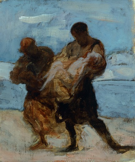 Stock Photo: 1788-48580 The rescue, 1870, by Honore Daumier (1808-1879).