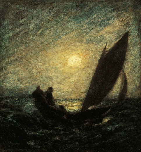 With Sloping Mast and Sinking Prow, 1880-1885, by Albert Pinkham Ryder (1847-1917), oil on canvas mounted on panel, 30x30 cm. : Stock Photo