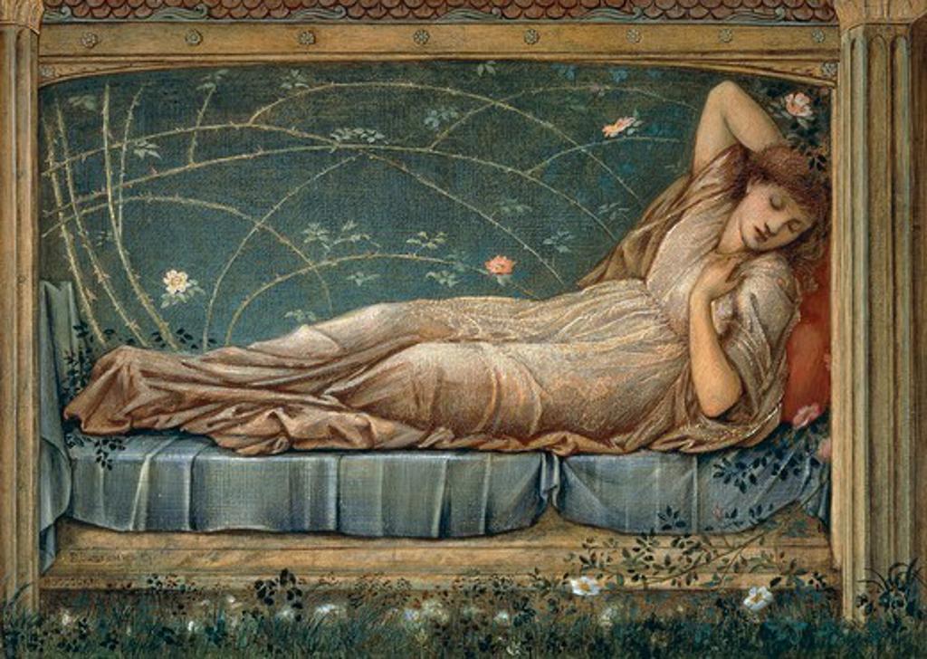 Sleeping Beauty, by Edward Burne-Jones (1833-1898). Detail. : Stock Photo
