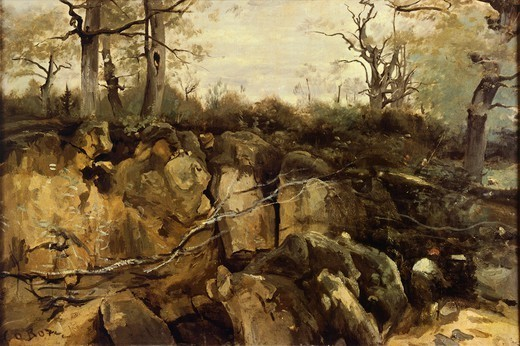 Stock Photo: 1788-48599 The edge of Fontainebleau forest, by Jean-Baptiste-Camille Corot (1796-1875).