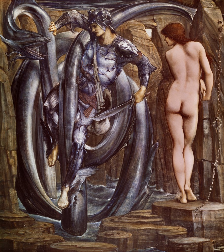 Stock Photo: 1788-48608 Perseus slaying the sea serpent, 1875-1877, by Edward Burne-Jones (1833-1898).