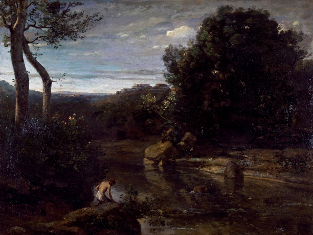 A pastor bathing, by Jean-Baptiste-Camille Corot (1796-1875). : Stock Photo
