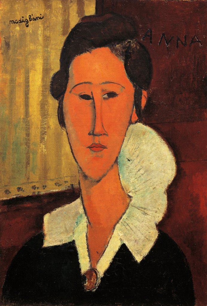 Stock Photo: 1788-48630 Lady with a collar or the portrait of Hanka Zborowska, 1917, by Amedeo Modigliani (1884-1920), oil on canvas, 55x38 cm.