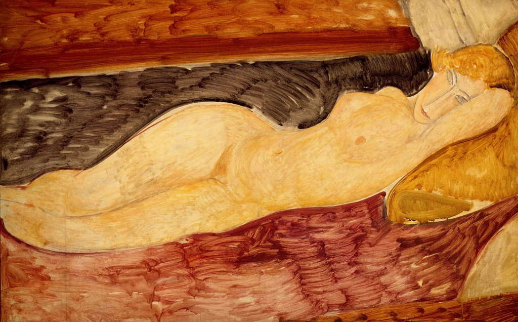 Reclining Nude, 1918, by Amedeo Modigliani (1884-1920), oil on canvas, 76x116 cm. : Stock Photo