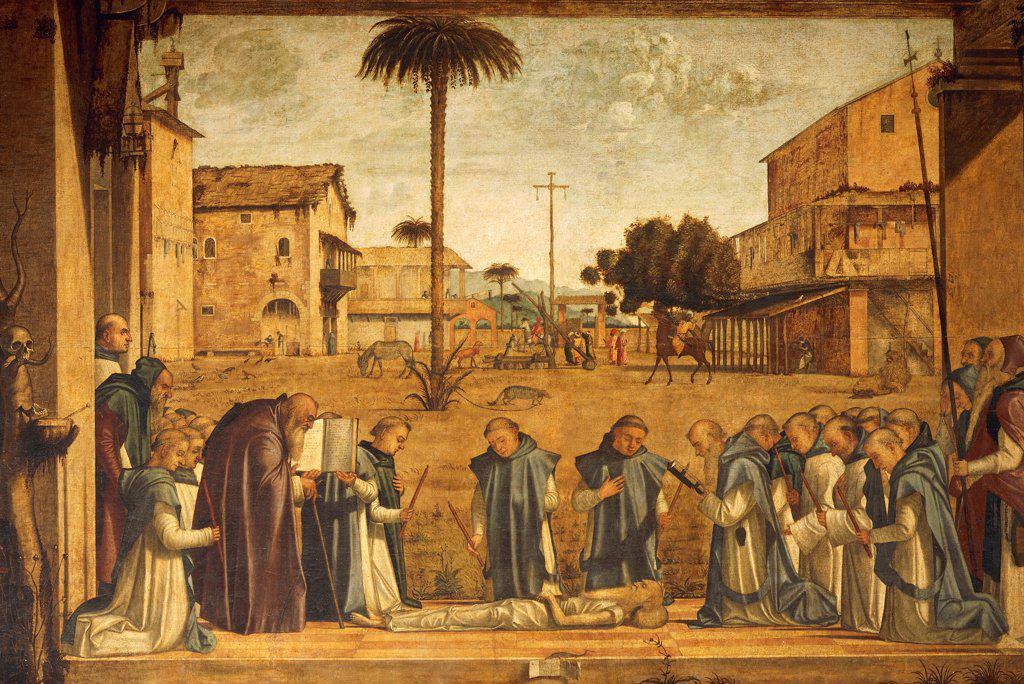 Death of St Jerome (or Burial of St Jerome), 1502, by Vittore Carpaccio (ca 1465-1525 or 1526), ??oil on canvas, tempera on canvas, 141x211 cm. School of San Giorgio degli Schiavoni, Venice. : Stock Photo