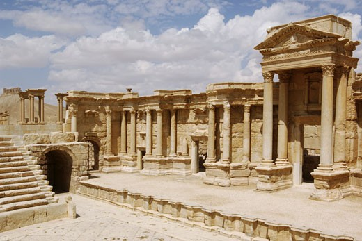 Stock Photo: 1788-4864 Syria - Palmyra. Ancient Palmyra. UNESCO World Heritage List, 1980. Theatre, 1st-2nd century AD. Forestage