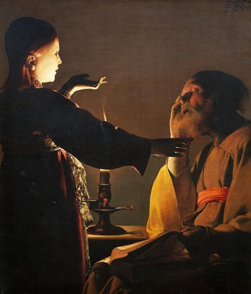 Stock Photo: 1788-48641 The dream of St Joseph, by Georges de La Tour (1593-1652).