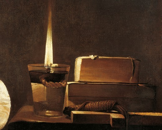 The flame of the oil lamp, detail from Repenting Magdalene, 1638, by Georges de La Tour (1593-1652), oil on canvas, 128x94 cm. : Stock Photo