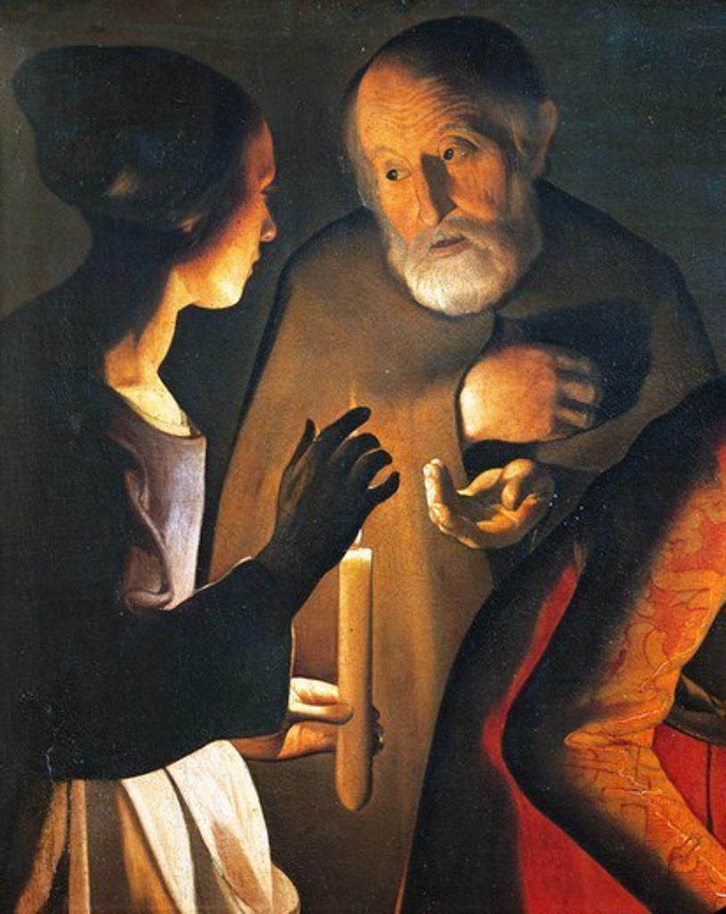 Stock Photo: 1788-48644 The denial of St Peter, 1650, by Georges de La Tour (1593-1652).