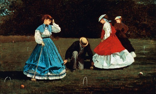 The croquet game, 1866, by Winslow Homer (1836-1910), oil on canvas, 40.3x66.2 cm. : Stock Photo