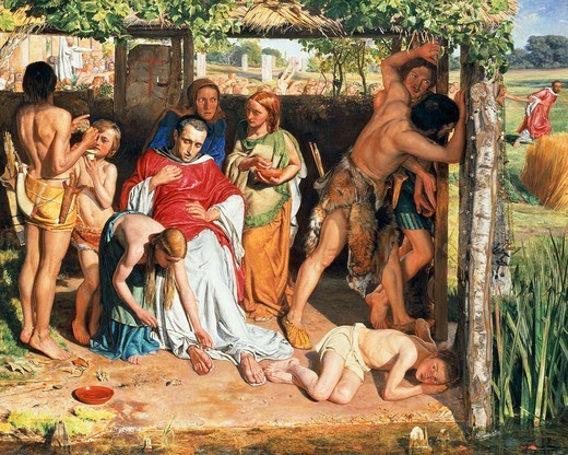 Stock Photo: 1788-48678 A converted British family sheltering a Christian missionary from the persecution of the Druids, ca 1849, by William Holman Hunt (1827-1910), oil on canvas, 111x141 cm.
