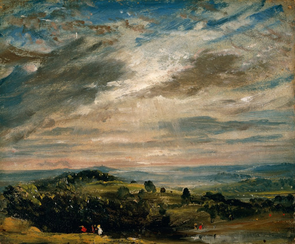 Stock Photo: 1788-48699 View from Hampstead Heath, looking towards Harrow, 1821, by John Constable (1776-1837), oil on paper laid on canvas, 25x30 cm.