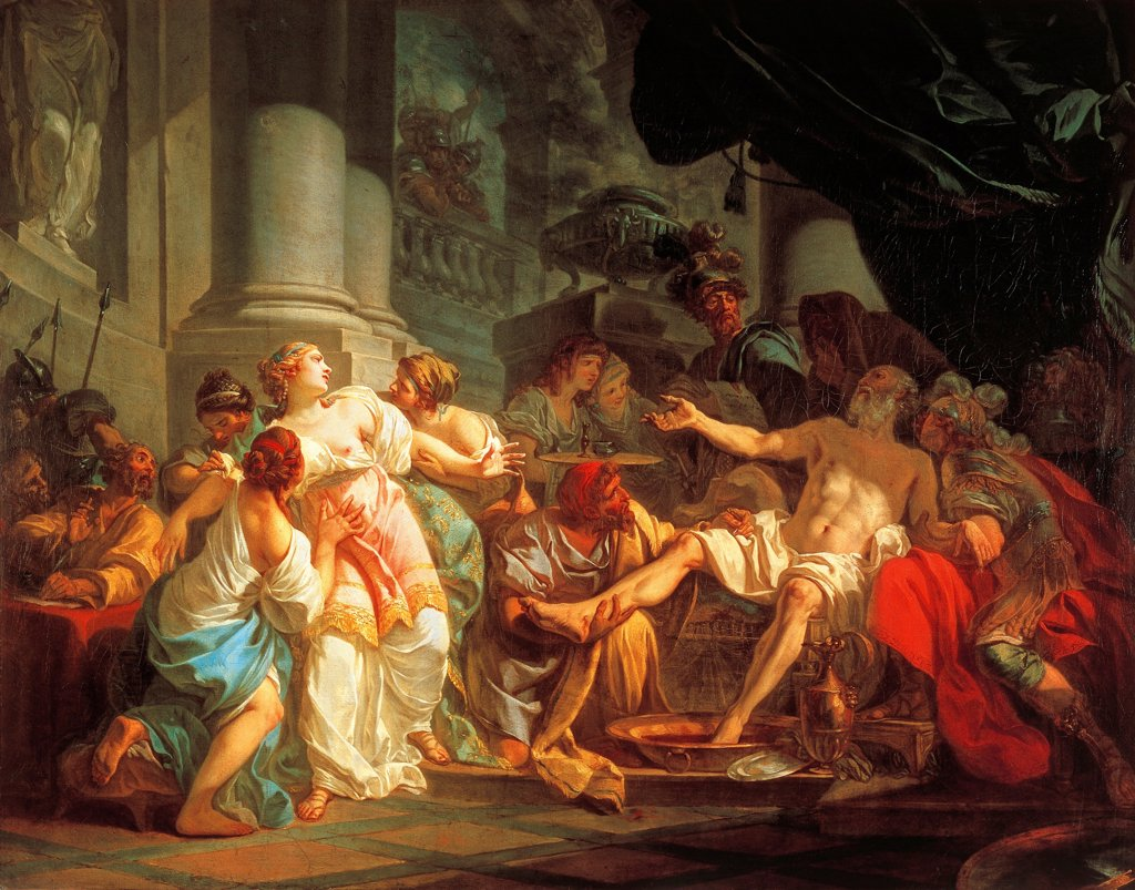 The Death of Seneca, by Jacques-Louis David (1748-1825). : Stock Photo