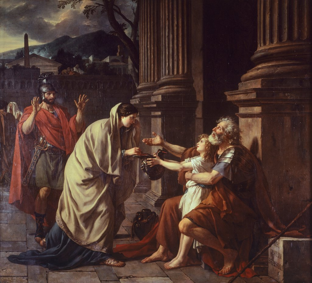 Stock Photo: 1788-48716 Belisarius begging for alms , 1781, by Jacques-Louis David (1748-1825).