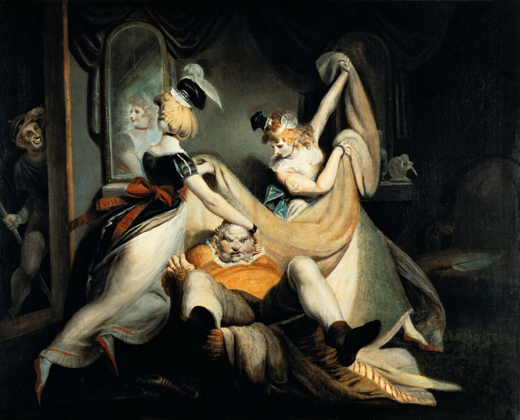 Falstaff in the laundry basket, 1792, by Johann Heinrich Fussli (1741-1825), oil on canvas, 137x170 cm. : Stock Photo