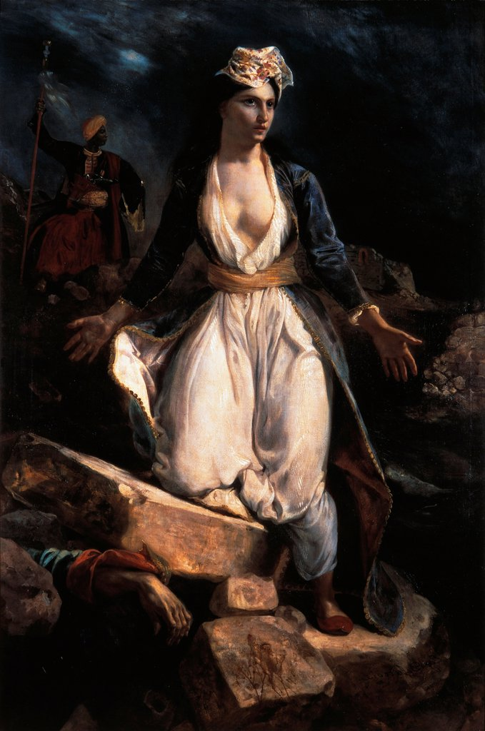 Greece on the ruins of Missolonghi, by Eugene Delacroix (1798-1863). : Stock Photo