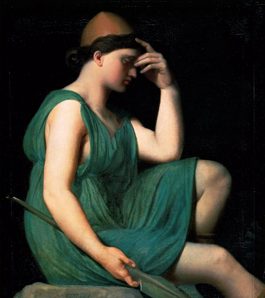 Homer , Odyssey, by Jean Auguste Dominique Ingres (1780-1867). : Stock Photo