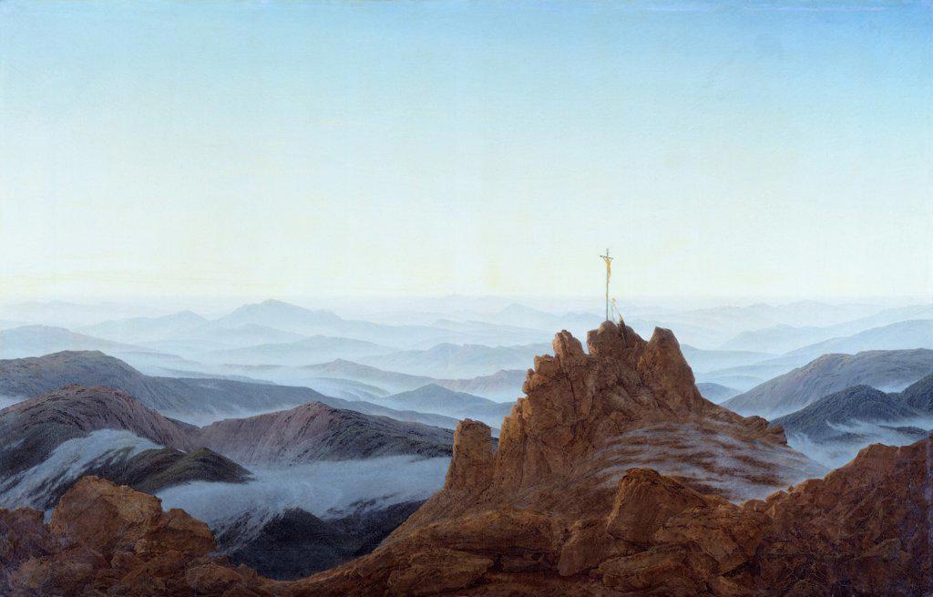 Stock Photo: 1788-48743 Morning in the Riesengebirge, 1810-1811, by Caspar David Friedrich (1774-1840), oil on canvas, 108x170 cm.