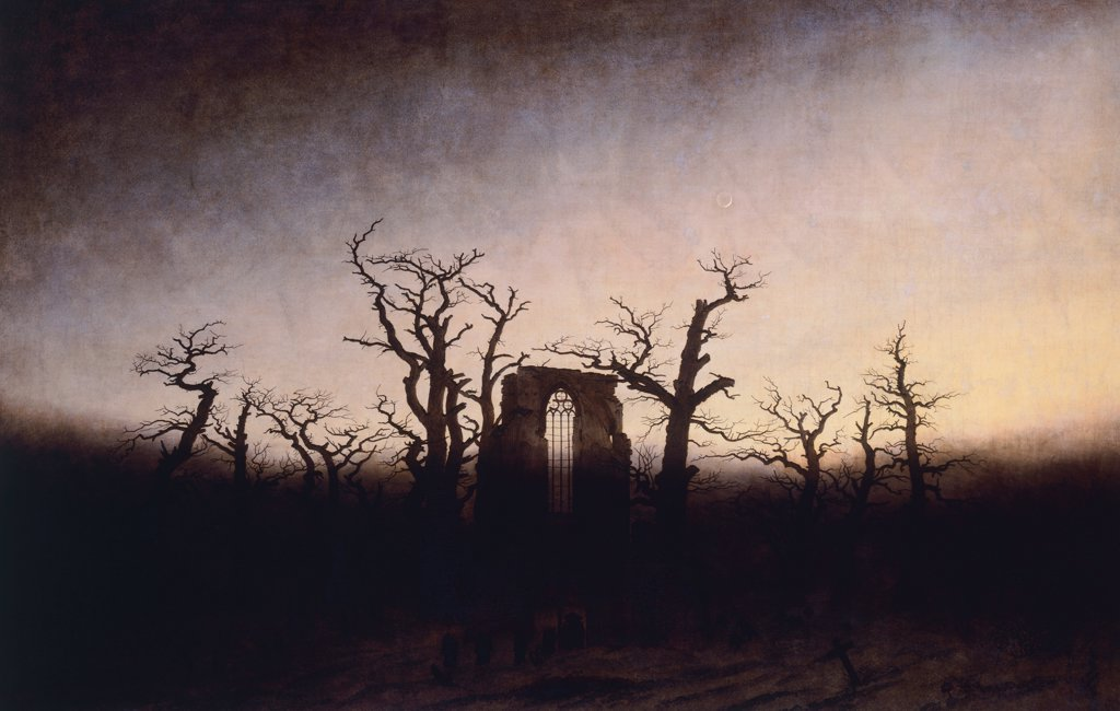 Abbey in the oakwood, ca 1809, by Caspar David Friedrich (1774-1840), oil on canvas, 110.4 cm x171. : Stock Photo
