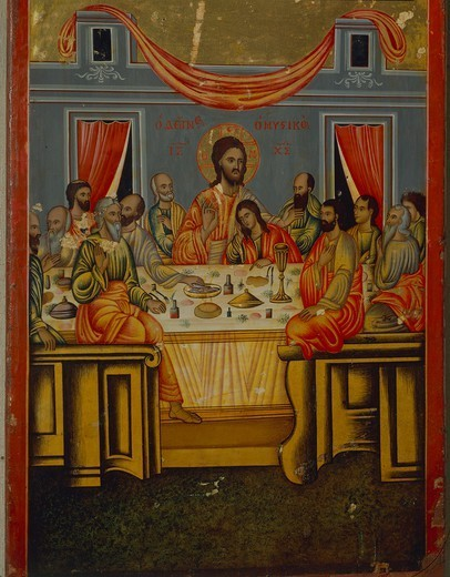 Stock Photo: 1788-48755 The Last Supper, Icon, end of the 17th Century.
